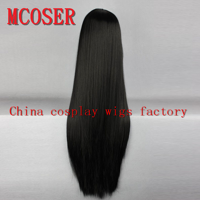 MCOSER 80cm long Straight black Cosplay Anime synthetic hair womens Lolita party Full Wig