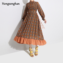 Hongsonghan 2019 Spring Dress For European And USA Styel Retro Dpliced Floral Stand Collar Adjustable Large Waist