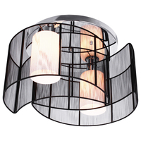 Black Modern Semi Flush 2 Lights Chandelier Ceiling Lamps Fixtures Lighting