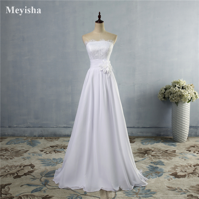 ZJ9016 custom made White Ivory Chiffon Sweetheart Bride Dresses ...