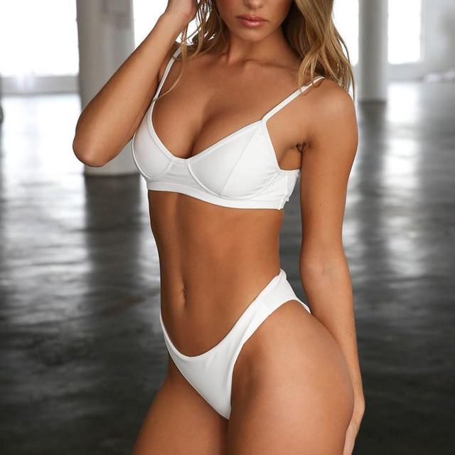 a7e23aa25b3e Precio bajo Las mujeres acolchado Micro Bikini 2019 naranja blanco ...