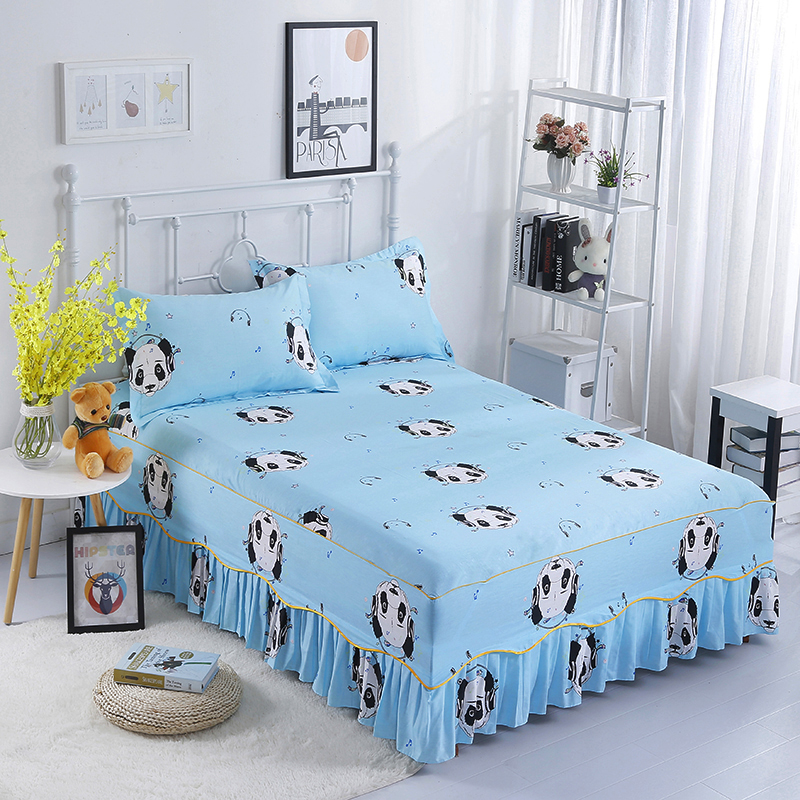 Modern Fashion 100%Cotton 3pcs Set Bed Skirts+Pillowcase More Colour Optional Blue Panda Pattern Comfortable And Soft Breathable