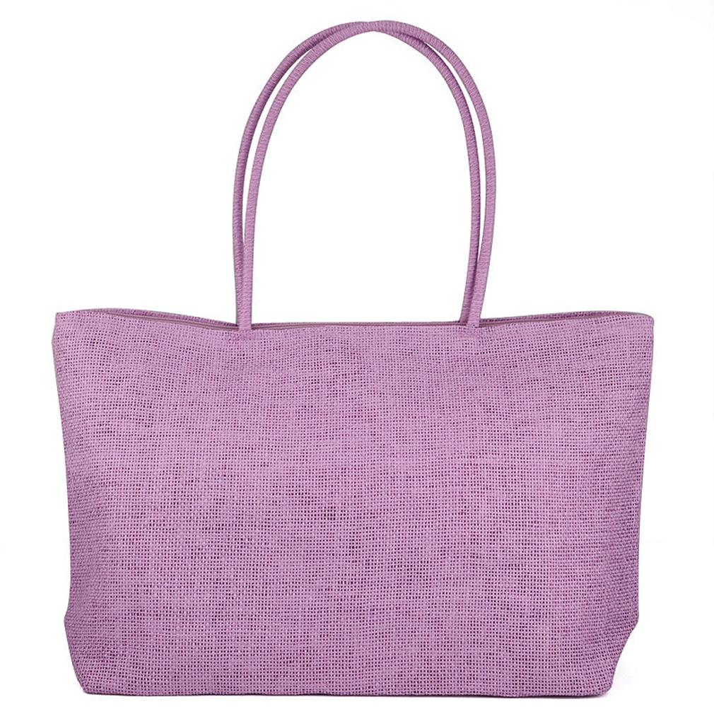 Ladies Straw Weaving Summer Beach Tote Zippered Bag - Purple сумки для детей zipit сумка premium tote beach bag