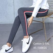 цены на High Quality Cotton Leggings Side Stripes Women Casual Legging Pants High Waist Fitness Leggings Plump Female Plus Size 5XL в интернет-магазинах