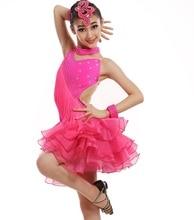 customize girl Latin dance dress professional children tassel sequined Rumba Samba tango dance competition dress