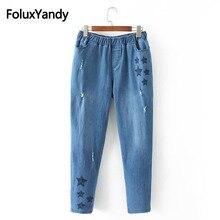 Embroidery Denim Harem Pants Ripped Jeans Women Plus Size XXXL 4XL Casual Elastic Waist Regular Pencil Pants KKFY2762 цены