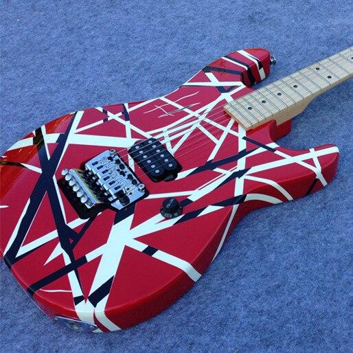 Free Shipping Electric Guitar Sry 01 Eddie Van Halen Signature Charvel Guitar Evh Guitar With Black And Red Strip Charvel Guitar Evh Guitareddie Van Halen Aliexpress