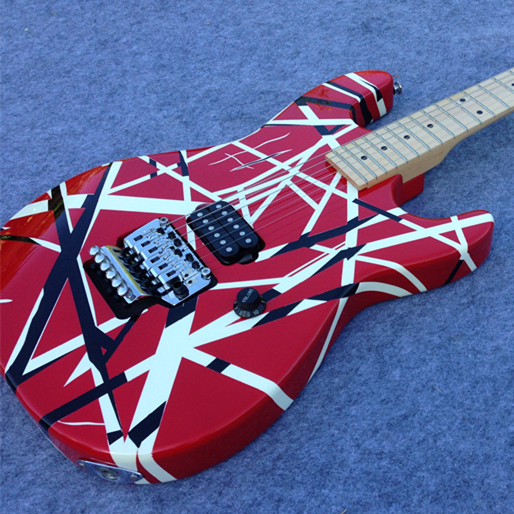 Livraison gratuite guitare électrique SRY-01 Eddie Van Halen Signature Charvel guitare EVH guitare avec bande noire et rouge