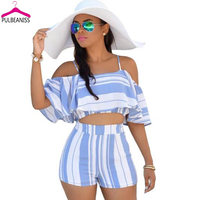 PULBEANISS 2017 New Fashion Summer 2piece Set Women Strap Crop Top and Hot Pant Sets Sexy Club Femme Vestido Night Party Beach