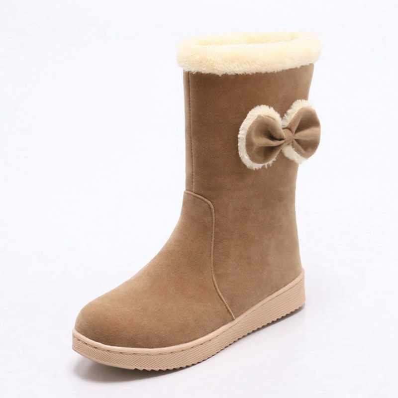 REAVE KEDI Bayanlar çizmeler Orta buzağı çizmeler Kadın kelebek-düğüm botas Kadın Sonbahar Yuvarlak Ayak Kayma üzerinde FlockWinter Moda Serin A832
