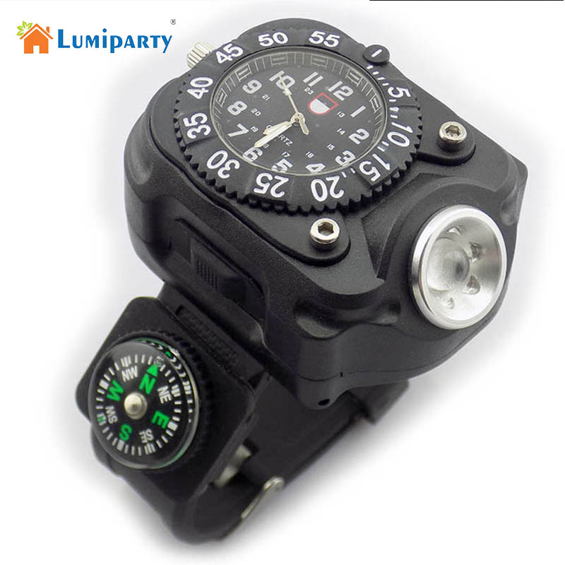 LumiParty 3in1 Super Bright LED Watch Flashlight Torch lights Compass Outdoor Sports Rechargeable Mens Wrist Watch Lamp