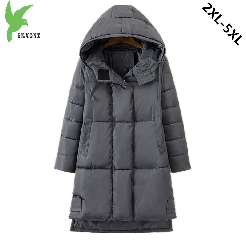 Plus size 5XL Women winter down cotton jacket coats Medium length Hooded parkas Thick warm Cotton-padded Outerwear OKXGNZ 1213 okxgnz winter cotton jacket coat women 2017long cotton padded costume hooded loose warm coats plus size women basic coats ah021