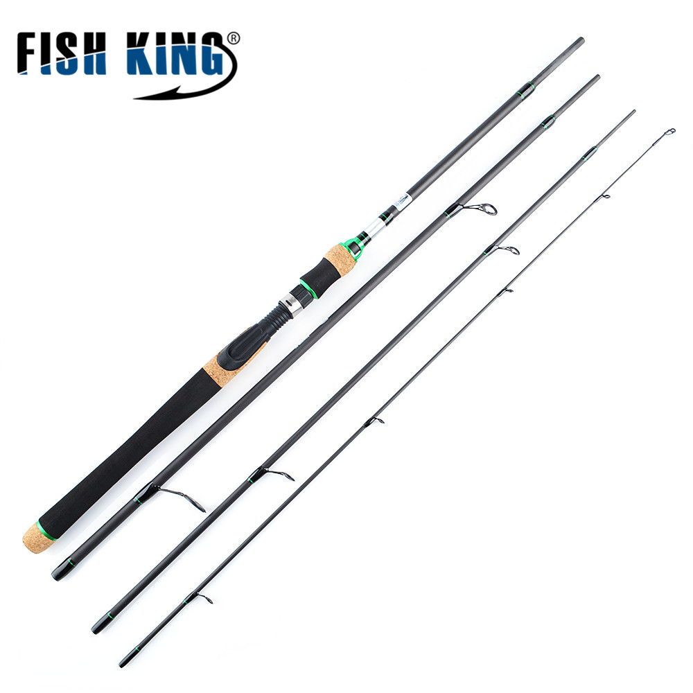 FISH KING Fishing Rod 3 Colors 2.1M 2.4M 2.7M 4 Section M Power Carbon Fiber Spinning/Casting Travel Rod 10-30g Fishing Tackle 2017 new 704 m fishing rod lure 2 1 m 4 sections m power carbon fiber spinning casting fishing travel rod 12 25lb 10 30g