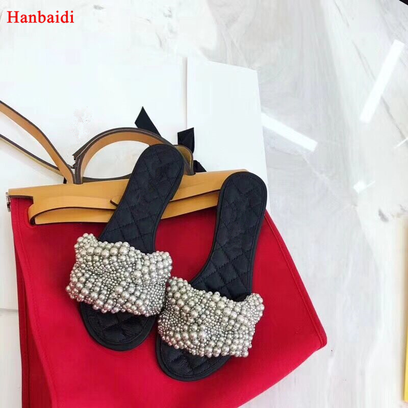 Hanbaidi New Fashion Pearl Women Slippers Luxury Brand Runway Handmade Slip On Peep Toe Loafers Dress Wedding Shoes Women 2018