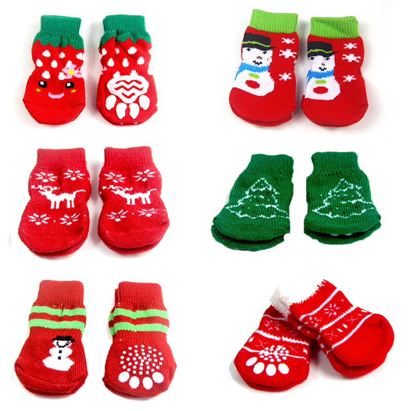 4Pcs Christmas Pet Dog Shoes NEW YEAR Cute Christmas Snowflake Shape Knit Pet Socks Soft Warm Dog Cat Winter Clothes