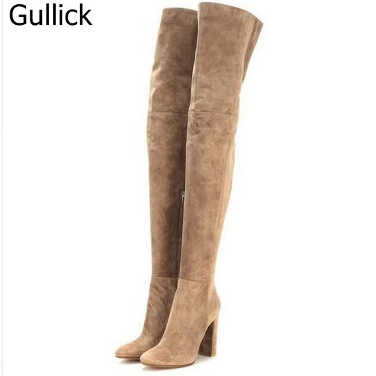 Winter Best Selling Boots Top Quality Sweet Pink Suede Leather Over The Knee Boots Thick High Heel Dress Shoes Women Booties ppnu woman winter nubuck genuine leather over the knee snow boots women fashion womens suede thigh high boots ladies shoes flats