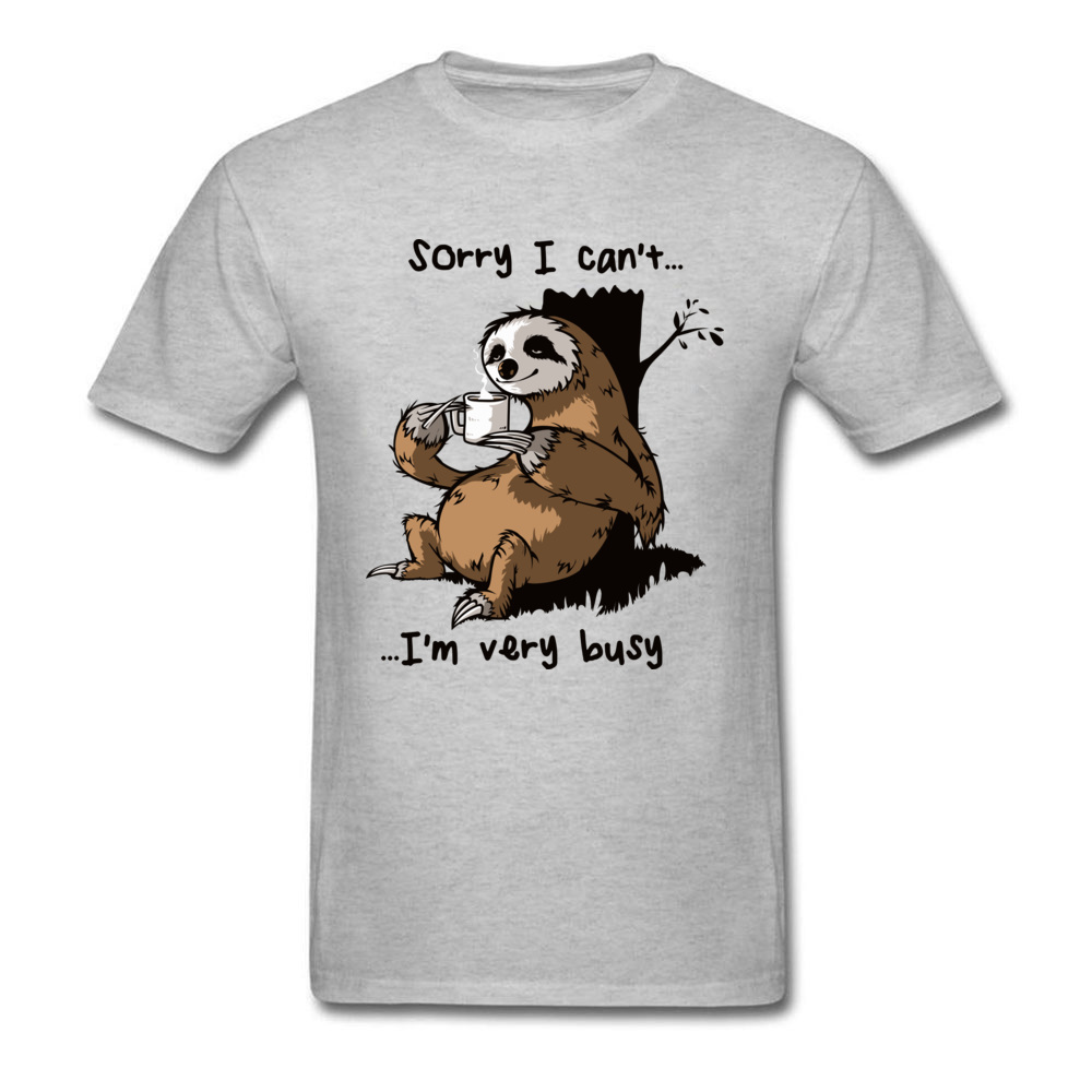 Very Busy Sloth   T     Shirt   Men's Top   T  -  shirts   Funny Cartoon Tshirt Summer New Grey Tees Short Sleeve Cotton Clothes Plus Size