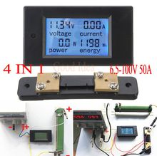 DC 6.5-100v 50A LCD Combo Meter Voltage current KWh Watt Panel Meter 12v 24v 48v Battery Power monitoring + 50A Shunt