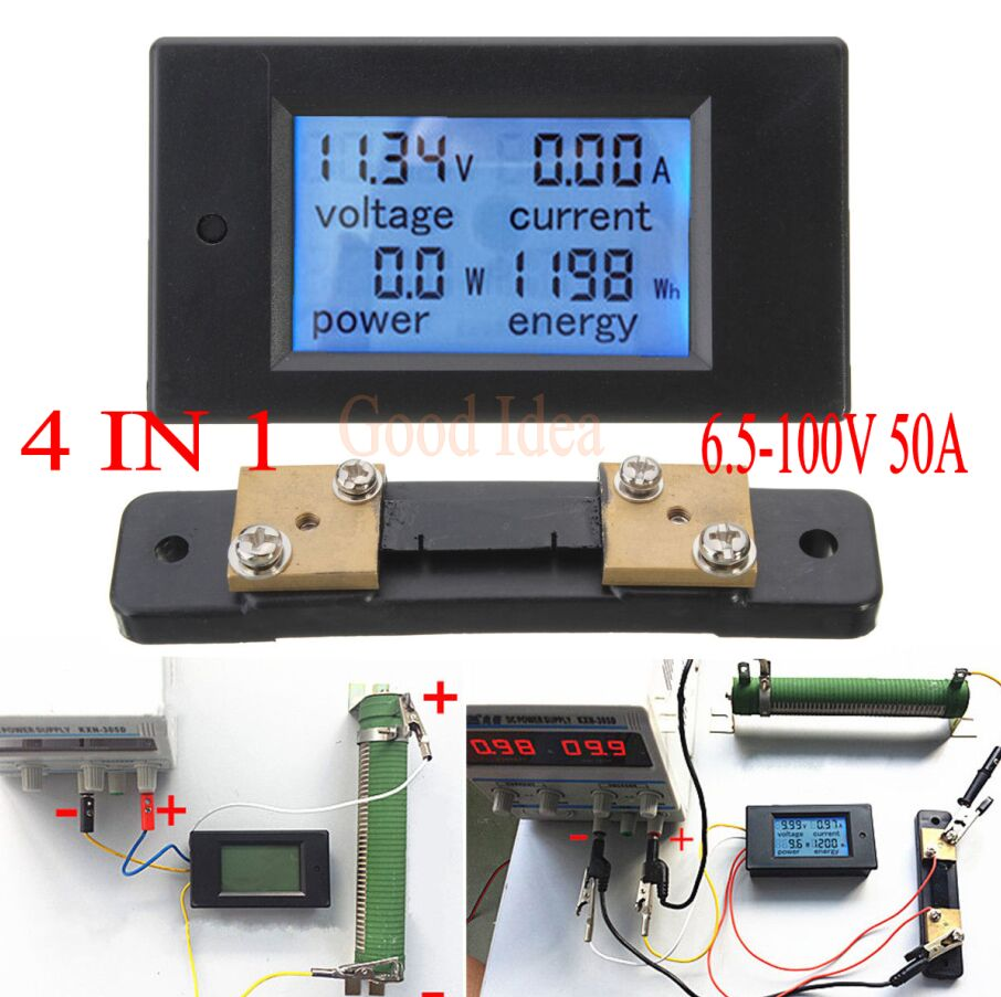 Self-Conscious Dc 6.5-100v 50a Lcd Combo Meter Voltage Current Kwh Watt Panel Meter 12v 24v 48v Battery Power Monitoring Tools 50a Shunt Wide Selection; Measurement & Analysis Instruments