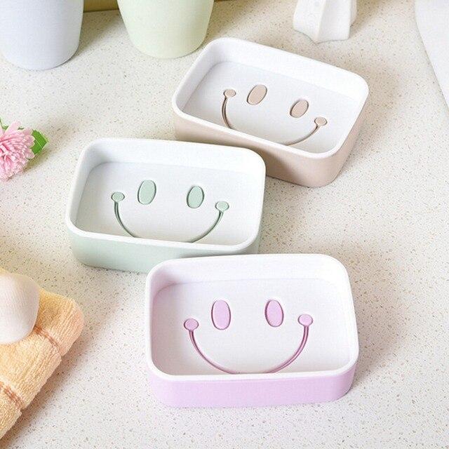 Latest Plastic Creative Double Layer Soap Box Smile Face soap holder Non slip Soap dish Bathroom Beautiful - Model Of bathroom shower storage Awesome