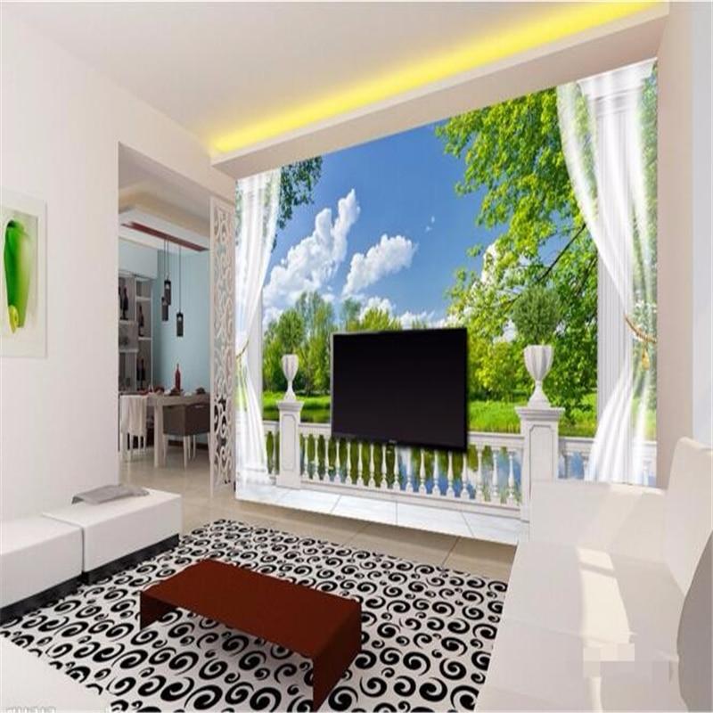 beibehang custom mural papel de parede para sala estar column balcony lakes painting photo 3d wall