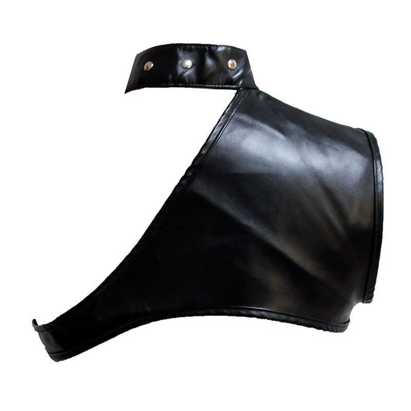 Темно-коричневая искусственная кожа на одно плечо, без рукавов Мини панк Винтаж пальто Для женщин готика жакет с корсетом костюм в стиле стимпанк аксессуары