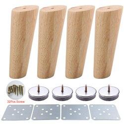 4 sztuk 15cm wysokość drewno kolor ukośne zwężane niezawodny meble drewniane szafy nogi Sofa stopy za pomocą śrub i maty