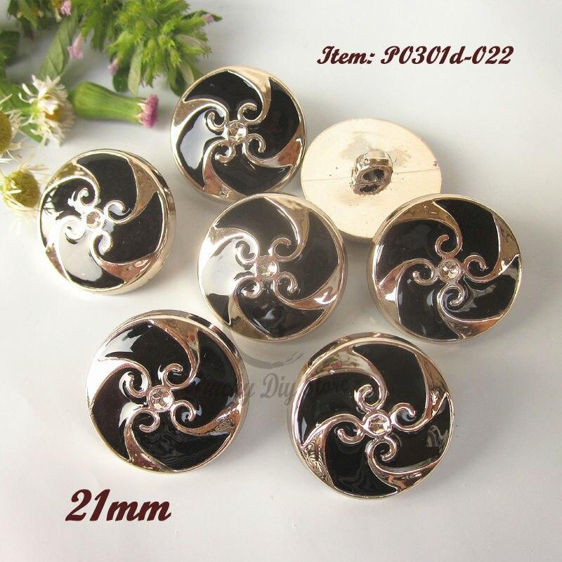 144pcs 21mm Rose Gold Black epoxy Women Coat buttons Sewing / Diy / Craft Decorative Accessories wholesale