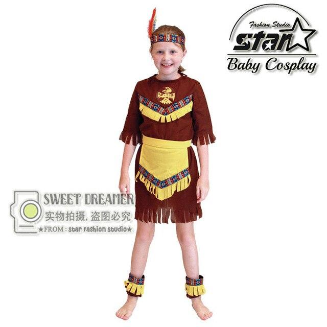 Американским Индейцем Хэллоуин Косплей Принцесса Костюм Карнавал Ролевая игра Девушка Необычные Платья Производительности Партия для Детей