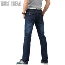 TRUST DREAM Fashion Four Seasons Men Slim Straight Jeans Waist Young People Straight Packet Quality Jeans BKJ6699