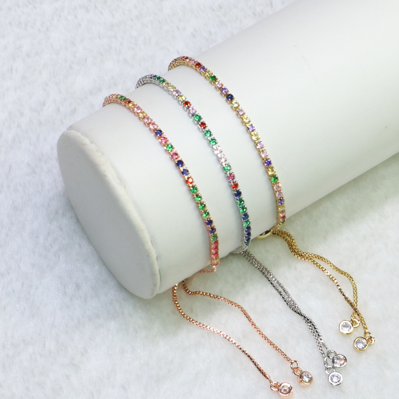 20Pcs wholesale Slim Chain Bracelet pave Colorful Zircon metal bracelet Adjustable chain bracelt Gift for lady9176
