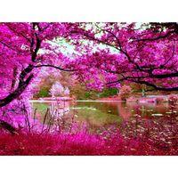 Flash Sale 5D Diy Diamond Painting Round Drill Woods Rivers Waterfalls Natural Scenery Mosaic Pattern Home