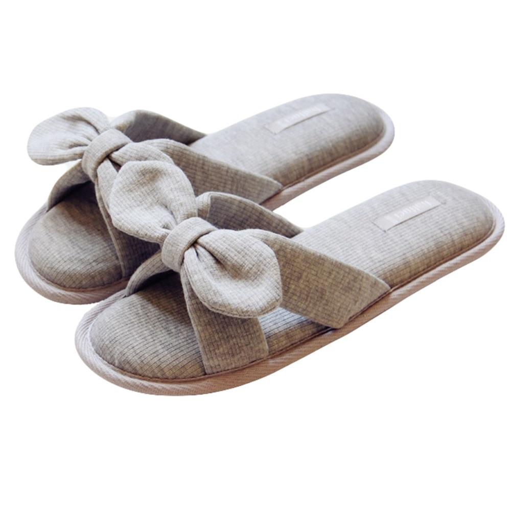 Women Girls Ladies Bow Cotton House Slippers Padded Flip