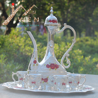 2016 New arrial 12 plate silver color with red flower metal wine set/tea set fashion zinc alloy wine set