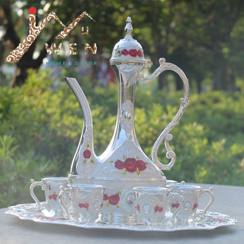 2016 New arrial 12 plate silver color with red flower metal wine set/tea set fashion zinc alloy wine set2016 New arrial 12 plate silver color with red flower metal wine set/tea set fashion zinc alloy wine set