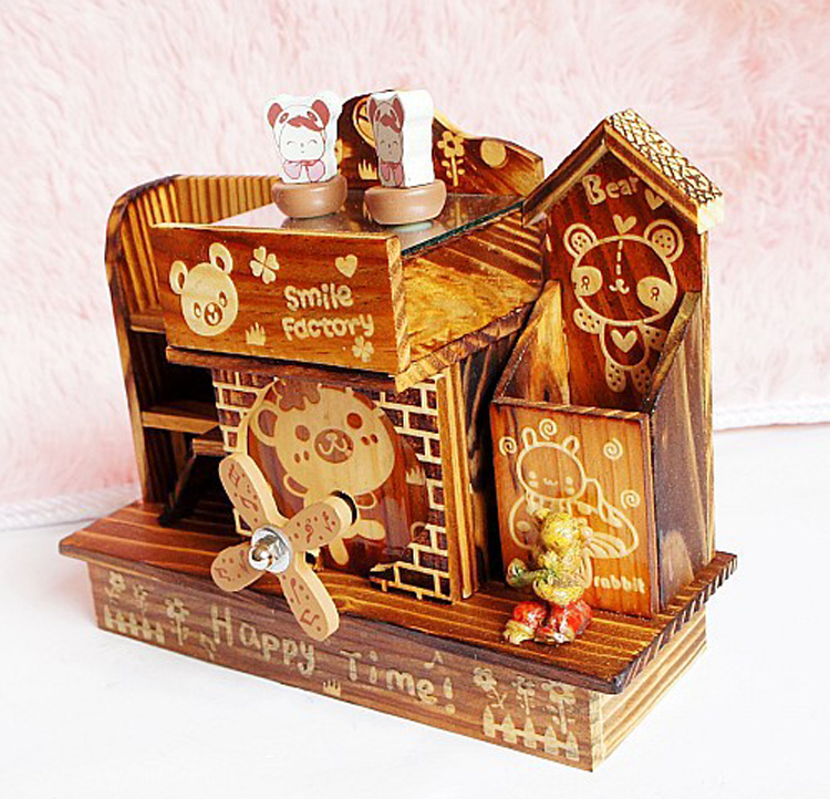 New arrival handmade small wood house music box with pen for Application box decoration