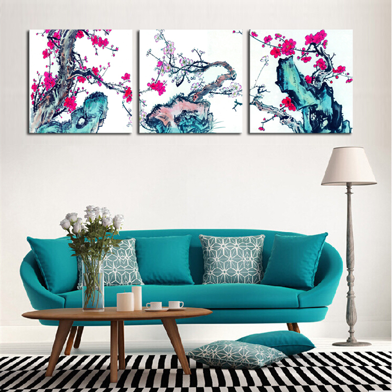 2017 Sale Promotion Unframed 3 Pieces Blossom Flowers Modern Home Wall Decor Canvas Art Picture Print Painting On Artworks