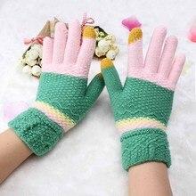 Children Accessories Patchwork Knitting Mittens Winter Gloves Women Girl Sweet Rainbow Wool Glove Warmer Guantes Touch