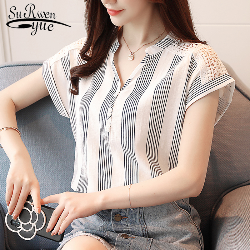 2019 Summer Chiffon Women Blouse shirts short Sleeve Striped blouses women' tops blusas fashion V-neck women's clothing D635 30