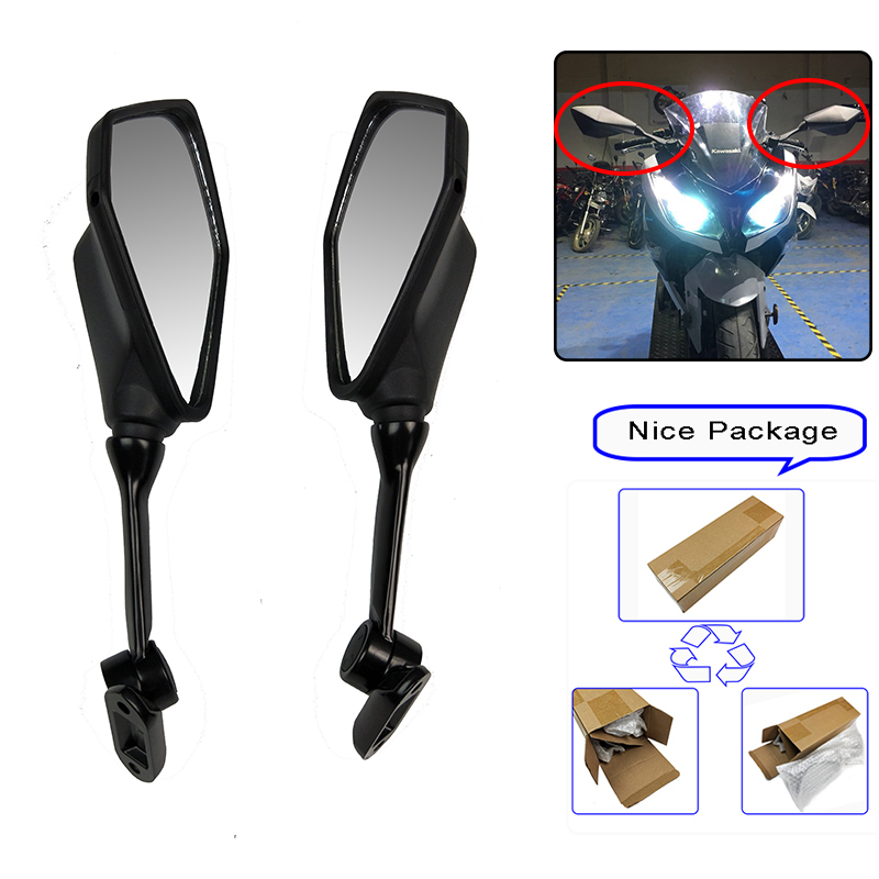 2013-2017 NINJA300 ZX-6R Black Rear View Side Mirrors For Kawasaki <font><b>Ninja</b></font> ZX6R 636 <font><b>300</b></font> 300R EX300 ABS 2013 2014 <font><b>2015</b></font> 2016 2017 image