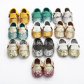 2016 Venta Caliente Bebé Mocasines de Gamuza de Cuero Genuino Mocasines Bebé Bebé Muchacha de Los Muchachos Zapatos 0-18 Meses de La Borla de Bling Bebe Mocasines