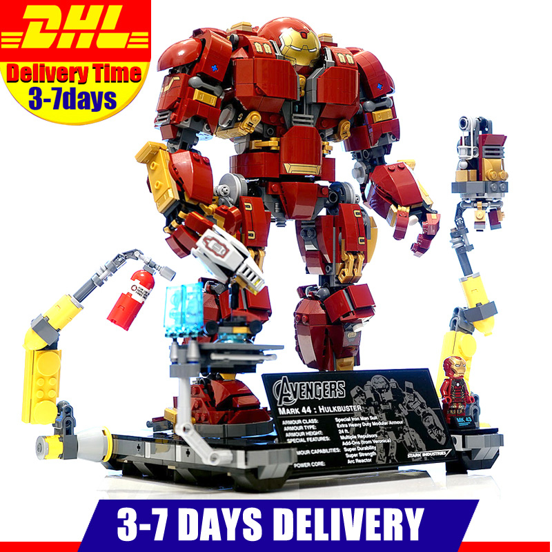 IN Stock Lepin 07101 1527Pcs Super Genuine Hero Compatible with 76105 Iron Man Anti Hulk Mech Toy Building Bricks Blocks Model lepin 07101 super heroed 1527pcs iron man hulkbuster ultron toy building blocks model compatible with 76105 marvel avengers