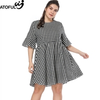 ATOFUL Women Dress Vintage A Line Flare Half Sleeve Plaid Dress Plus Size 4XL 5XL 2018