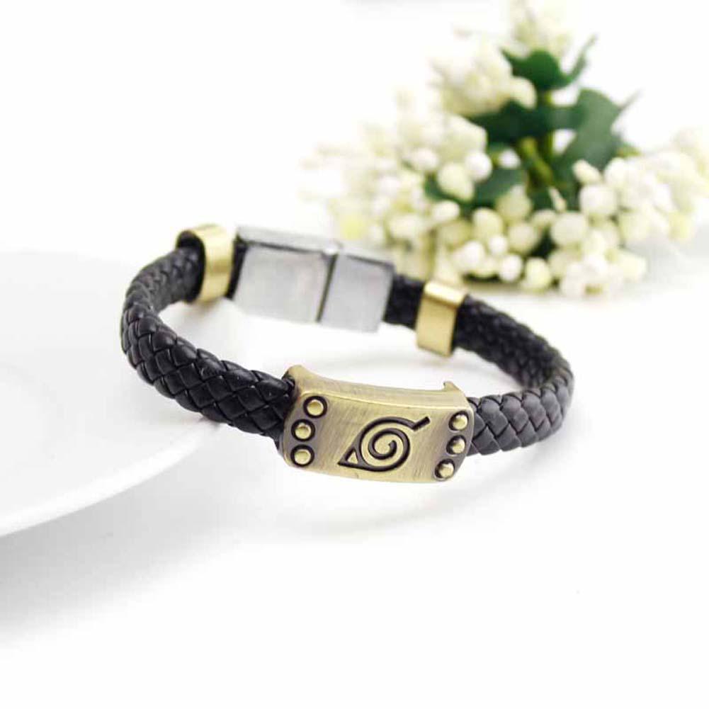 Naruto Braid Leather Bracelets & Bangles Hot Anime Akatsuki Itachi Konoha Logo Alloy Bracelet Wristband Cosplay Jewelry