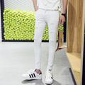 2016 Skinny Hot Summer Men's Pants Soild White Slim Male Clothing Fashion British Style BROKEN HOLE Trouser free shipping
