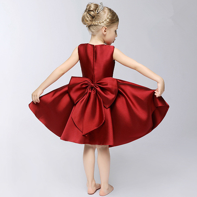 2016 New Kids Girl Dress big bow Dresses For Girls Sleeveless Girls Clothes wine red Princess Party vest Dress Children Clothing red new summer flower kids party dresses for weddings formal princess girl evening prom sleeveless girl bow mesh dress clothes