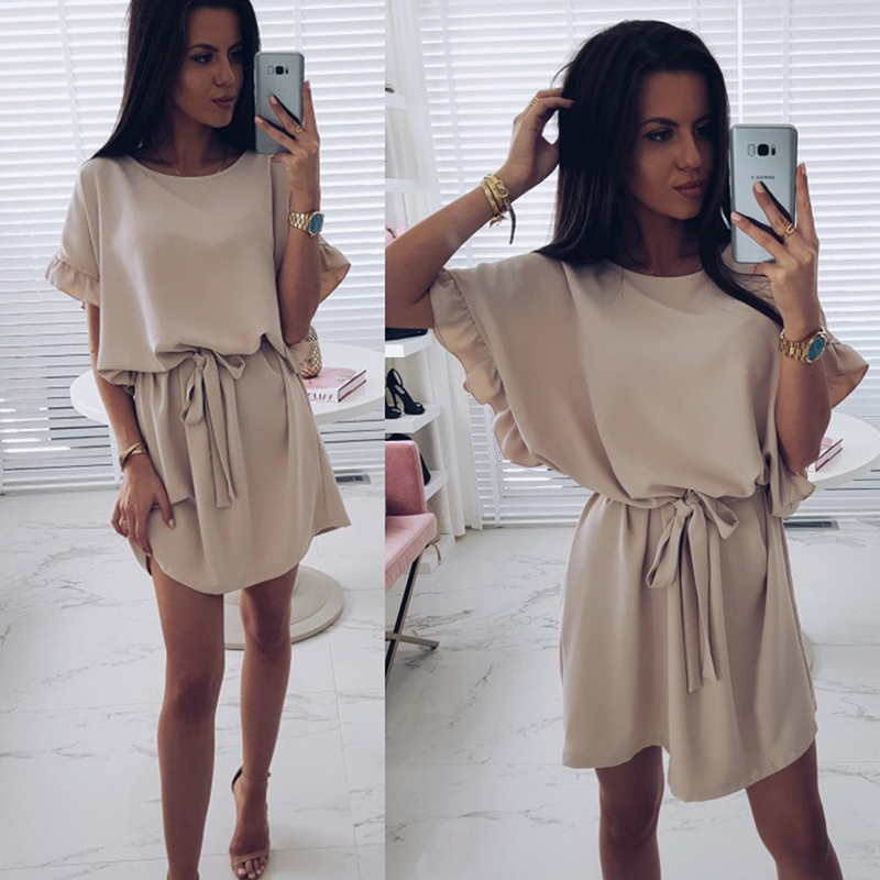Bigsweety Summer Party Dress Short Batwing Sleeve O-Neck Dress Women Fashion Sashes Mini Dresses Female Sexy Dress With Belt