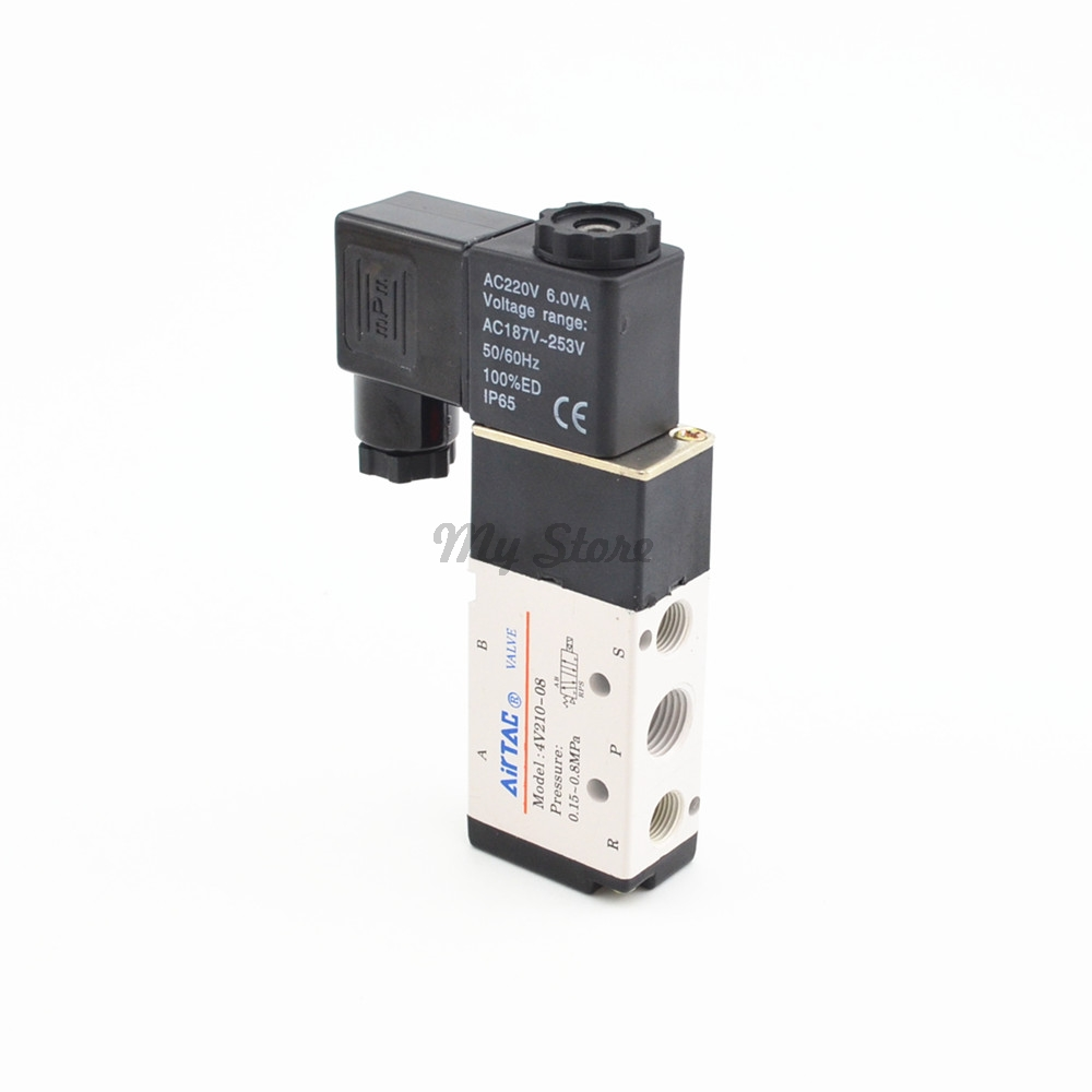 5 Way 2 Position Airtac Electric Solenoid Valve 4V210-08 DC12V DC24V AC110V AC220V 3 8 electric solenoid valve water air n c all brass valve body 2w040 10 dc12v ac110v