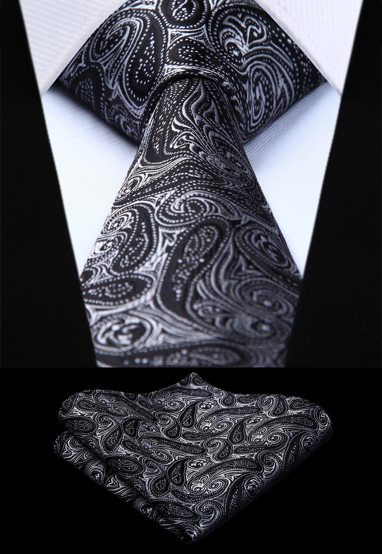 Party Wedding Classic Pocket Square Tie Woven Men Tie Black Paisley Necktie Handkerchief Set# TP718L8S