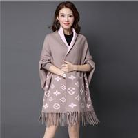 2017 Women Wrap And Swing Fashion Autumn Winter Warm V Neck Casual Loose Sweater Knitted Tops